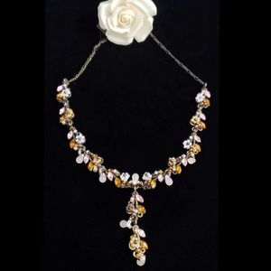 Cookie Lee Jewelry - Beaded Floral Necklace Genuine Chrystals